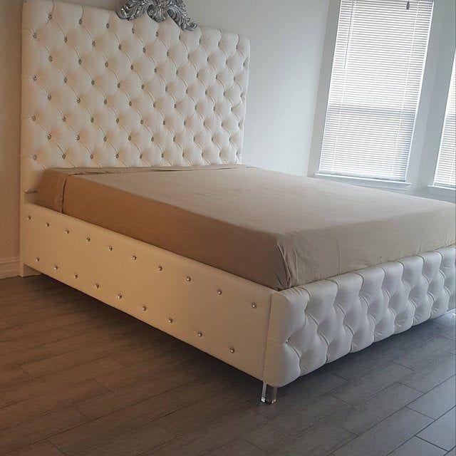Tufted Velvet Platform Bed King Extra