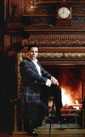 Rob James Collier wears Ralph Lauren tartan for a GQ Photo shoot featuring the men from Downton Abbey.