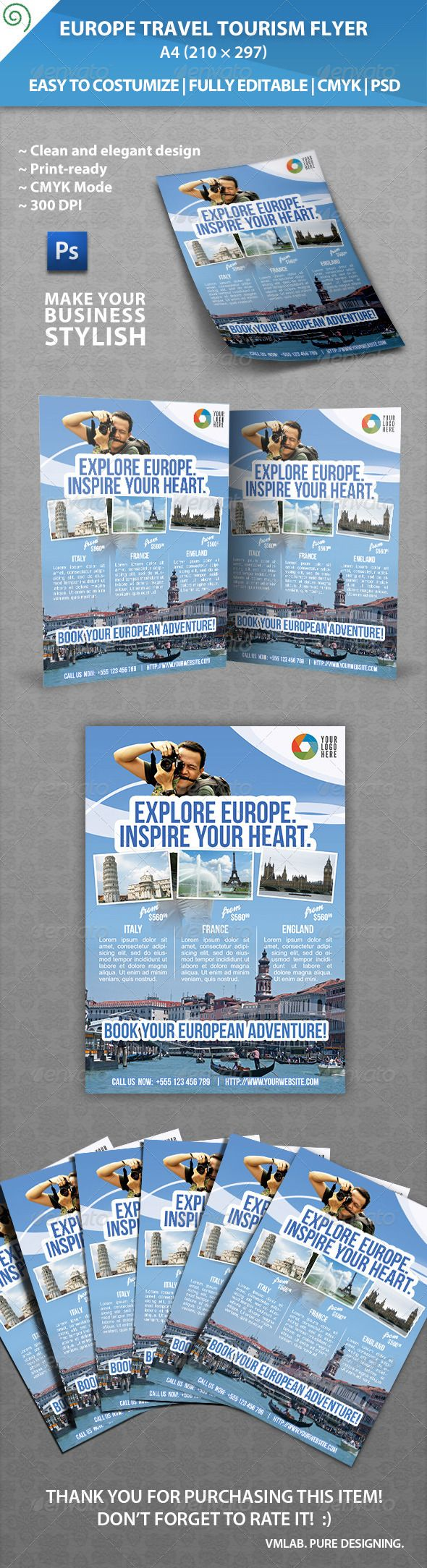 Europe Travel Tourism Flyer The 290 best