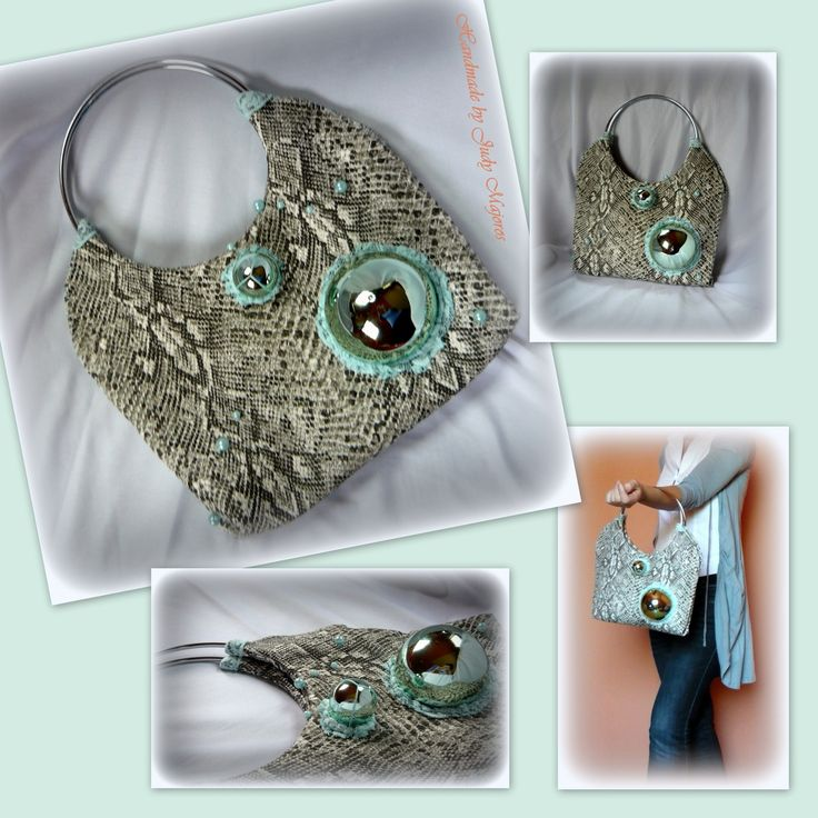 Handmade by Judy Majoros -Bubble Python  leatherette handbag.Recycled bag
