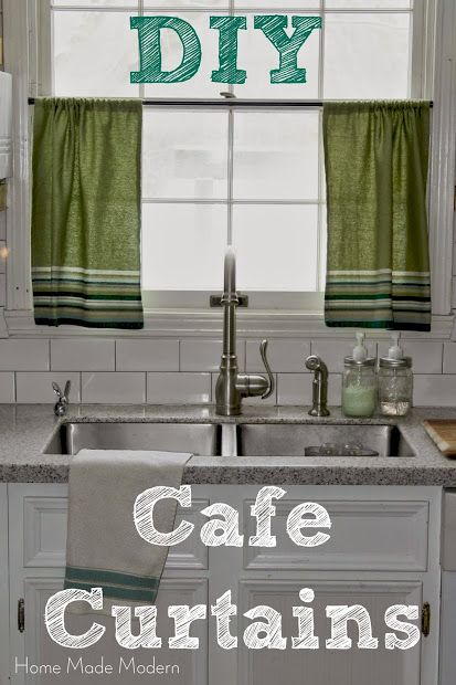 DIY Cafe Curtains from Kitchen Towels