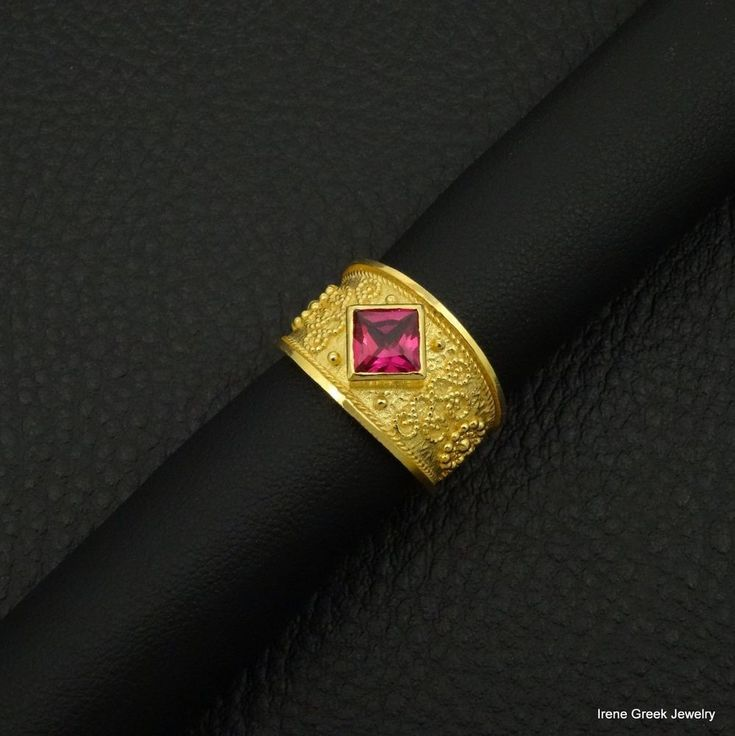 PINK RUBY CZ BYZANTINE STYLE 925 STERLING SILVER 22K GOLD PLATED GREEK ART RING #IreneGreekJewelry #Band