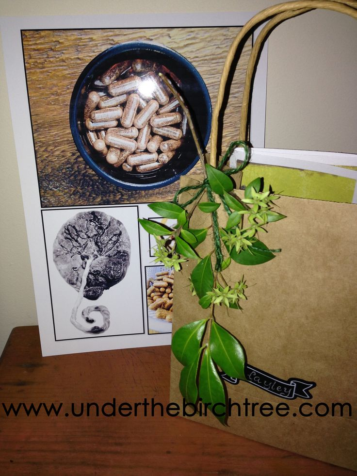 One of Under the Birch Tree's packages. This family had a photo collage of their placenta and its rewards along with their capsules. www.underthebirchtree.com