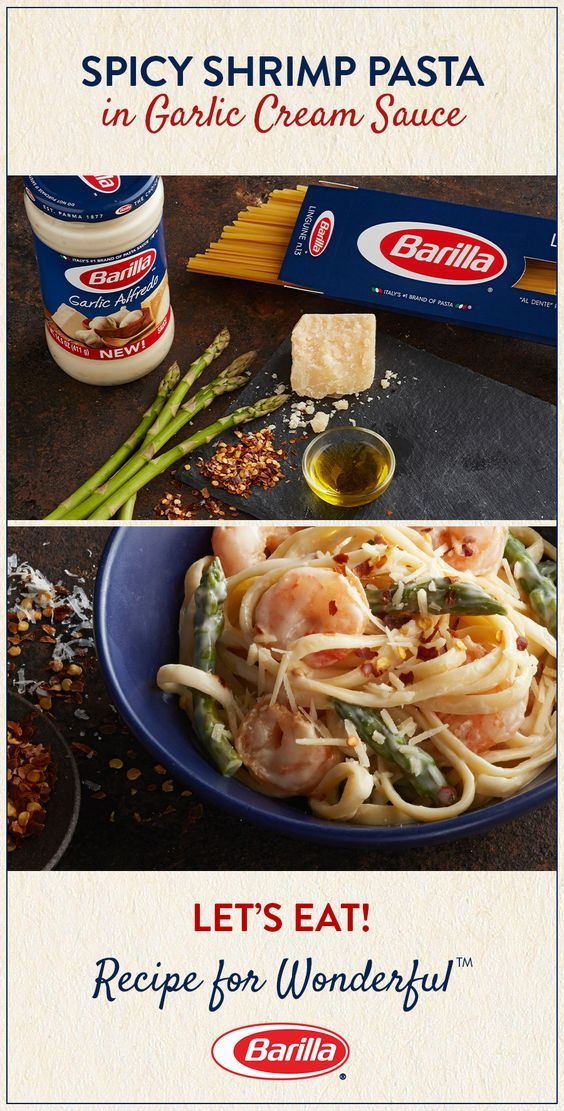 Creamy garlic alfredo and spicy shrimp are the perfect combo for this super-easy and super-tasty linguine recipe!