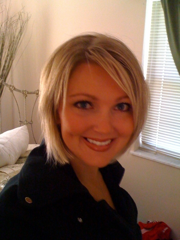 This was after I cut 8 inches off my hair. Fun and easy haircut! Angled Bob.
