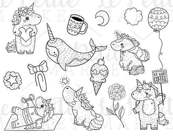 Unicorn Digital Stamp Bundle Kawaii Unicorn Clipart Bundle Unicorn