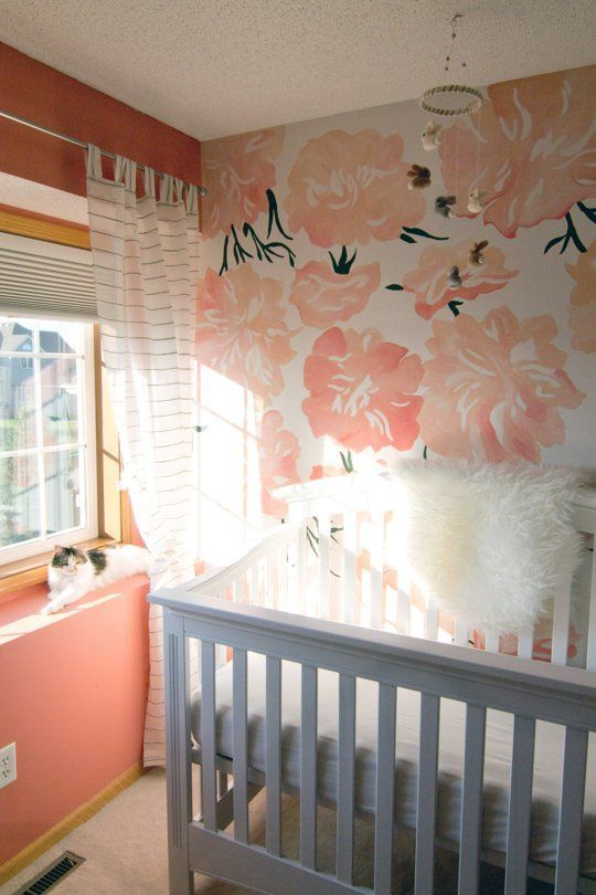 Coral and gray baby girl's room! I'm not sold on the giant