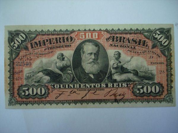 LINDO 500 réis do Império do Brasil muito bem conservado.