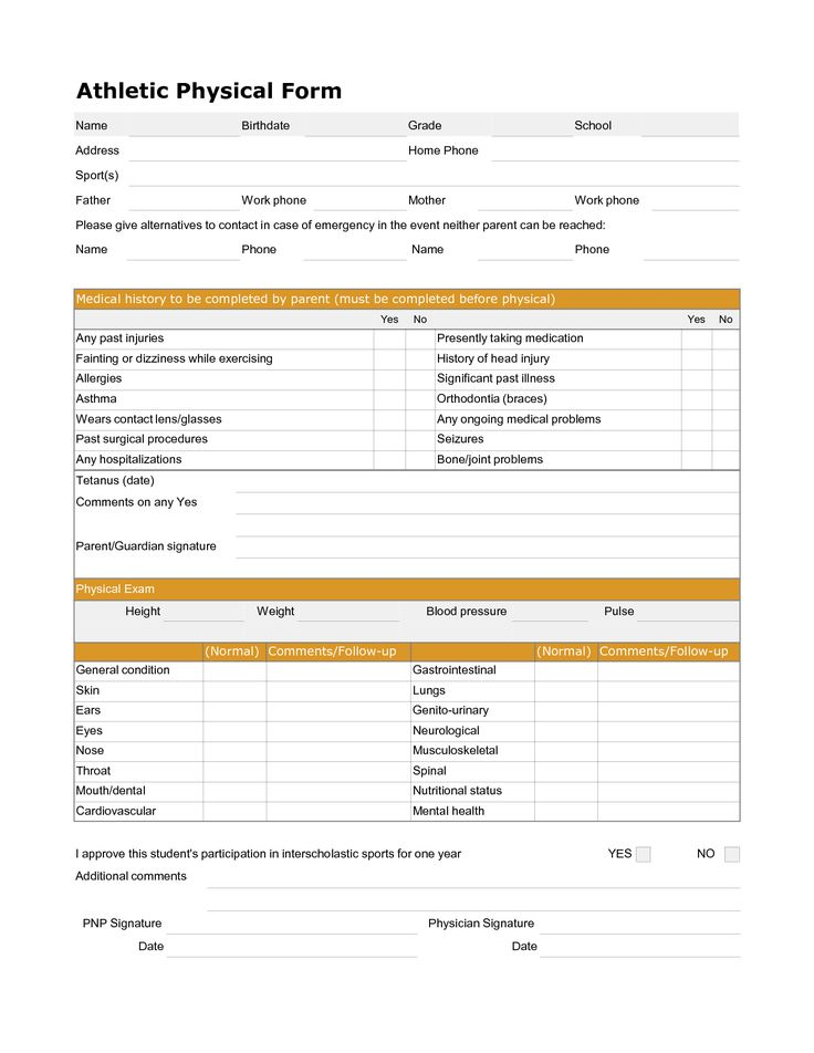 Printable Sports Physical Form in 2020 School physicals