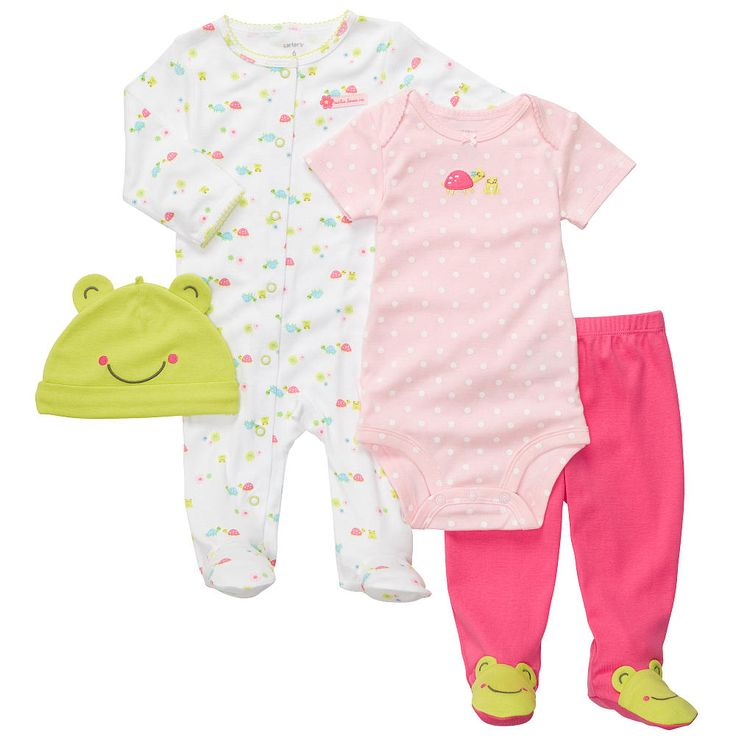 """Carter's Girls 4 Piece Turtle Layette Set with Bodysuit, Footed Pants, Footie, and Hat - Carters - Babies """"R"""" Us"""