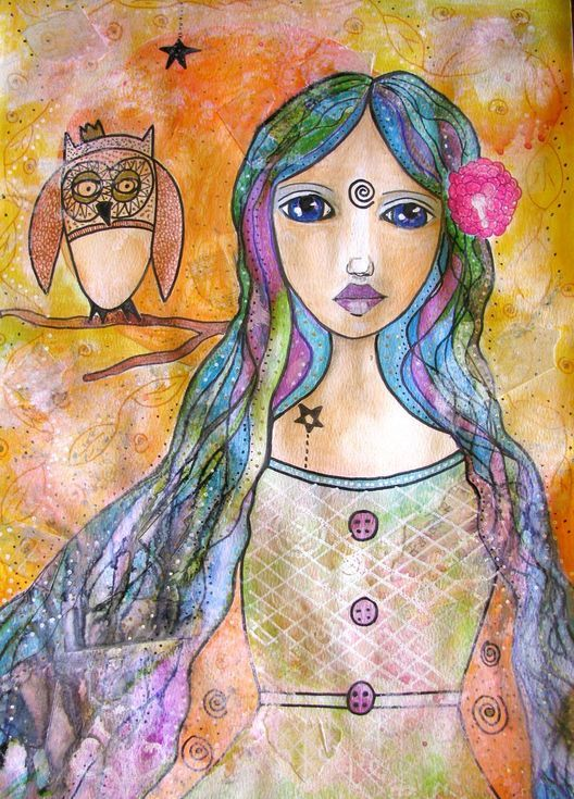 Buy Girl with the owl, Pencil drawing by Riana  van Staden on Artfinder. Discover thousands of other original paintings, prints, sculptures and photography from independent artists.