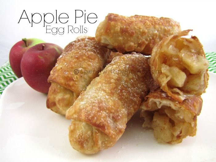 Apple Pie Egg Rolls Recipe Desserts with apples, sugar, flour, cinnamon, lemon juice, egg roll wrappers, oil