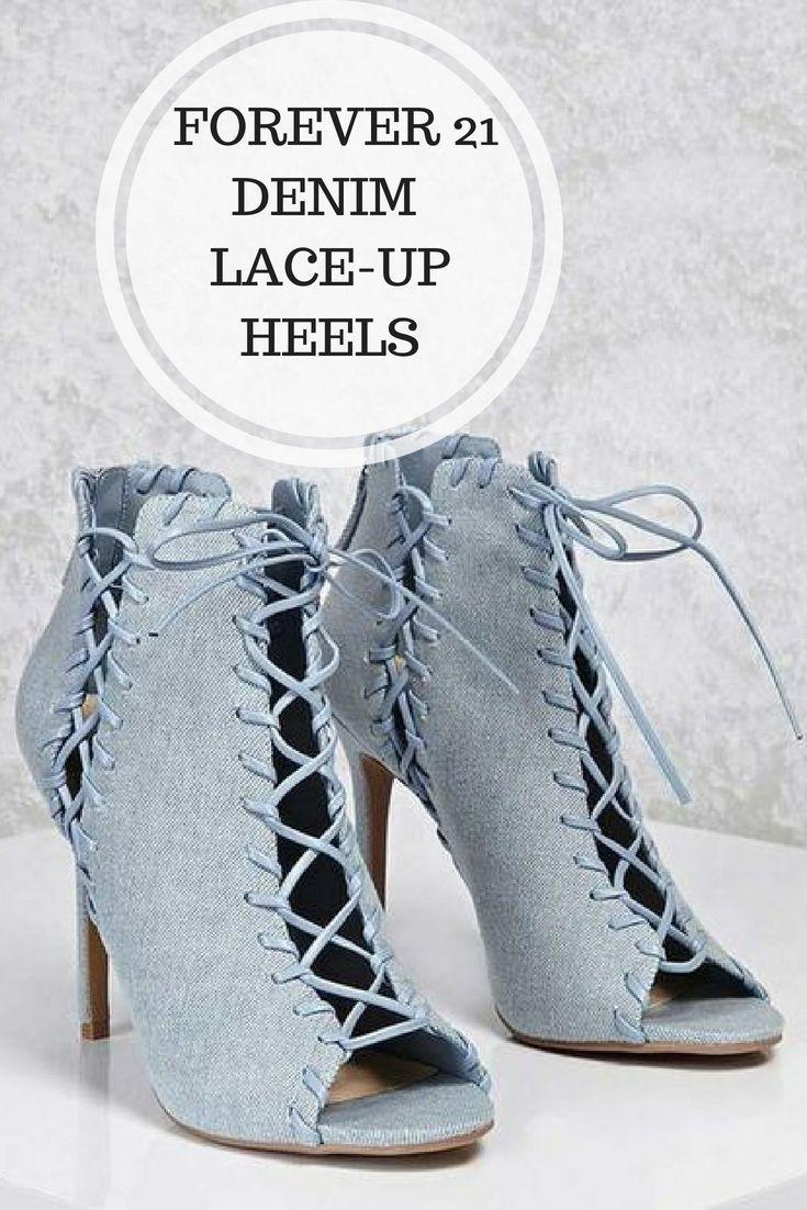 Forever 21 Denim Lace-Up High Heel