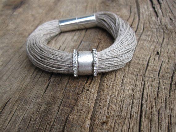 Rhinestone Strass Bracelet Linen Natural Engraved by espurna88