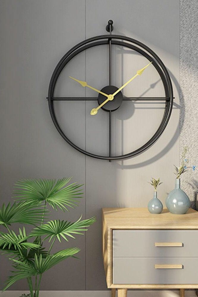 Golden Round Circle Wall Clock For Your Living Room Clock Clock