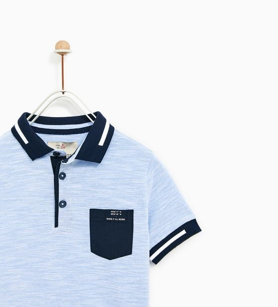 Image 2 of TEXTURED WEAVE POLO SHIRT WITH POCKET from Zara