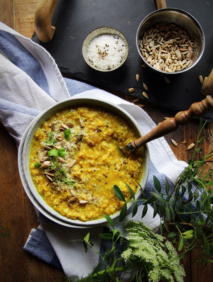 Simple Red Lentil and Coconut Dal with Toasted Sunflower Seeds