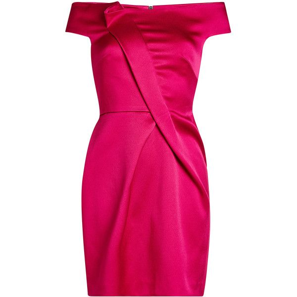 Roland Mouret Satin Dress ($1,250) ❤ liked on Polyvore featuring dresses, magenta, pink satin dress, fuschia cocktail dress, special occasion dresses, satin evening dresses and fuchsia pink dress
