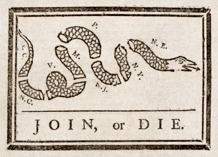 """The editorial Franklin wrote next to this cartoon about the """"disunited state"""" and the importance of unity seems all too familiar today."""