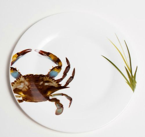 New! Enchanting Blue Crab Tempered Glass dinner plates for your beach home table.