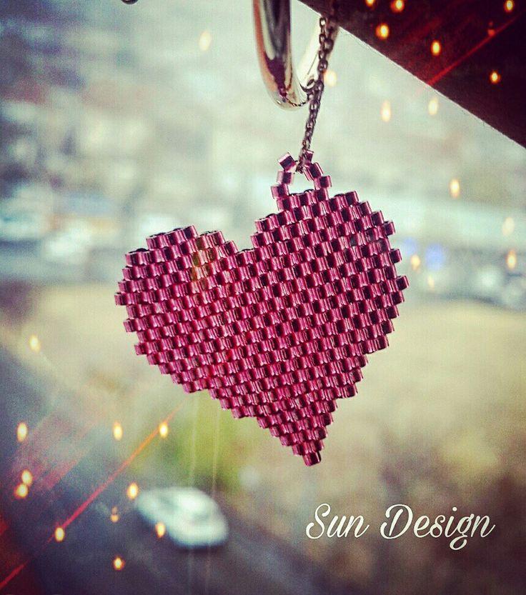 Kalp bileklik #miyuki #pink #red #kalp #heart #love #pattern #bracelet #fashion #stil #moda #kum #tohum #boncuk #sundesign #peyote #brick #stitch