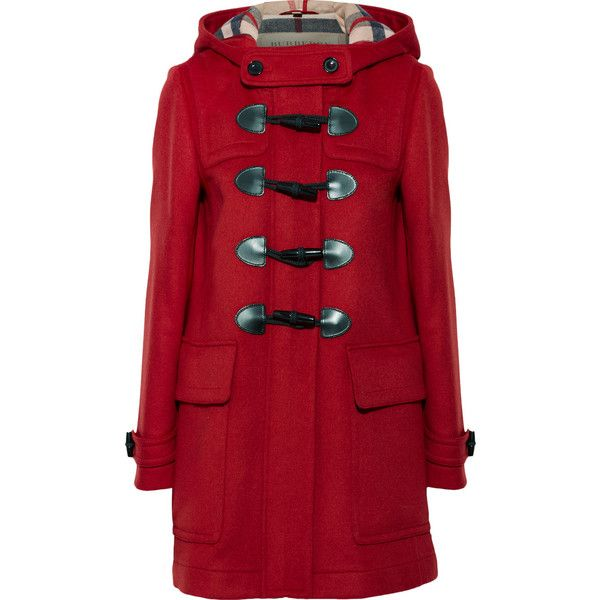 Burberry Brit Hooded wool-felt duffle coat ($1,060) ❤ liked on Polyvore featuring outerwear, coats, red, burberry, burberry coat, woolen coat, toggle coat and red coat