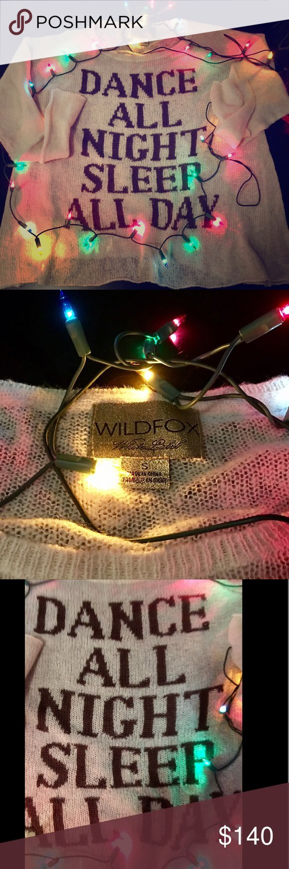 👱🏼♀️WILDFOX WHITE LABEL PFEIFFER SZ S👱🏼♀️ WILDFOX 'DANCE ALL NIGHT, SLEEP ALL DAY' PFEIFFER, LONG SLEEVED, SIZE SMALL SWEATER. SCOOP NECK & OVERSIZED & ALSO VERY SOFT & A LIGHT, COMFY PIECE! RETAIL PRICE WAS 249.00 + TAX LAST YEAR WHEN I BOUGHT IT. THIS IS A WILDFOX 'WHITE LABEL SHIRT THAT IS HTF. WILL CONSIDER ALL OFFERS & CHEAPER THROUGH 🅿️🅿️! QUESTIONS, ASK AWAY & THANKS FOR LOOKING.👀 *NO TRADES, I NEED A HATCHIMAL LOL😳 Wildfox Sweaters Crew & Scoop Necks