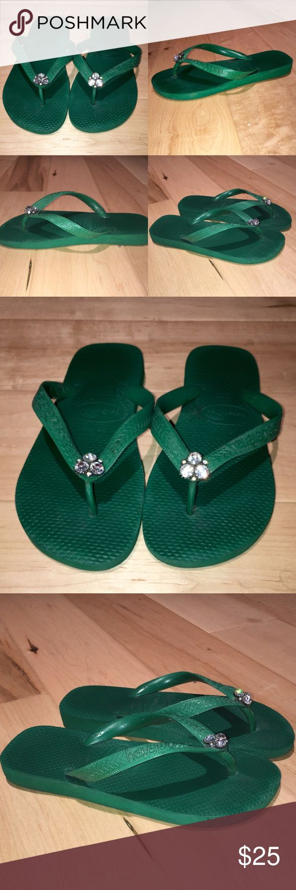Havaianas Green Blinged Flip Flops Havaianas Green Flip Flops with Diamond Center 35-36 Euro Havaianas Shoes Sandals