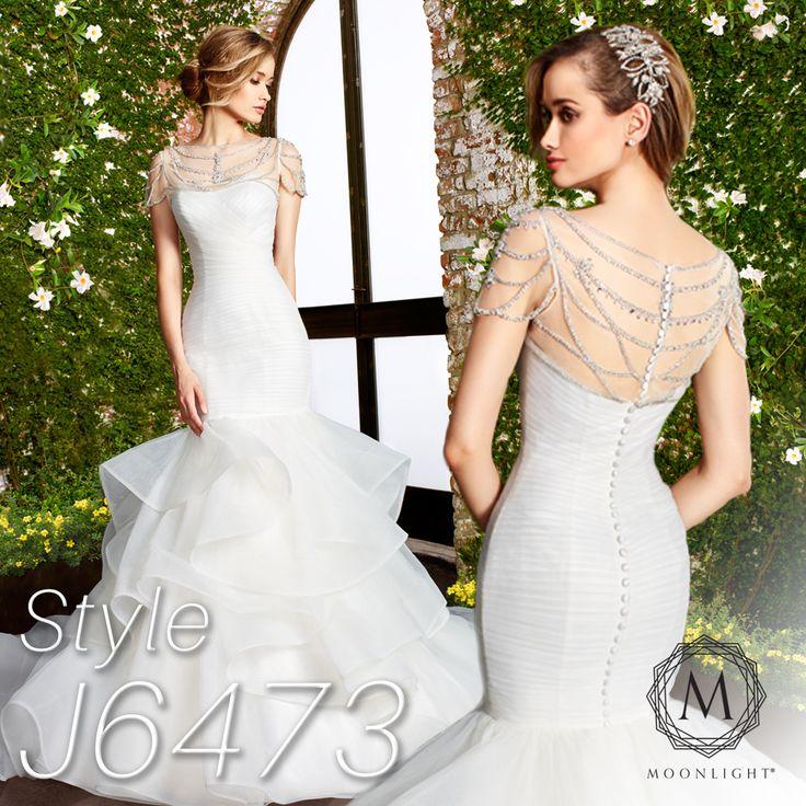 Plain mermaid wedding dress with organza ruffle skirt. Moonlight Collection style J6473