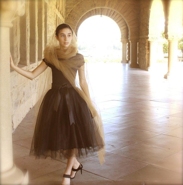 Black tulle skirt tutu for women.