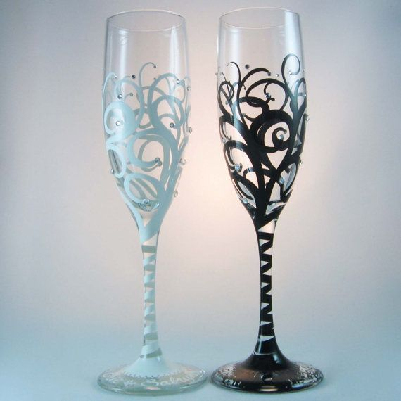 Wedding Toasting Flutes personalized in calligraphy by ArtfullySV