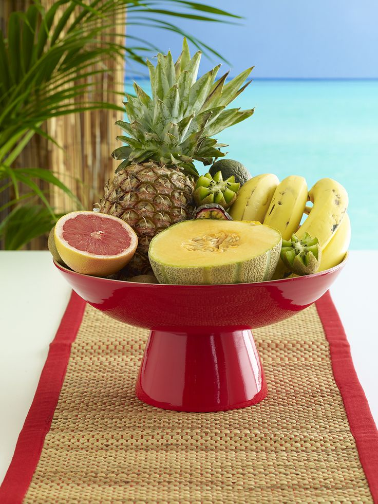 Perfect picnic! Barbados bamboo bowl on stand red $59.95 paired with Avoca table runner red $29.95 - shop the look here http://www.oasishomewares.com/host-a-party/book-an-Oasis-party.html