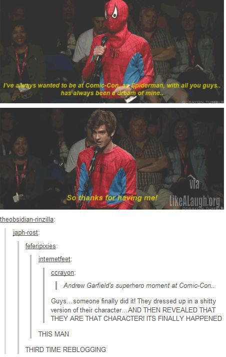 Andrew Garfield just won Comic Con>> second time I've repinned it and I probably will again