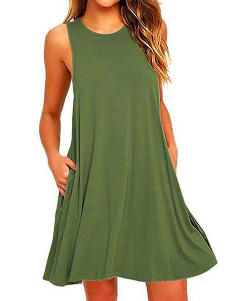 74f7155ada94 Shop Dresses - Casual A-line Crew Neck Sleeveless Solid Dress online.  Discover unique designers fashion at PopJuLia.com.