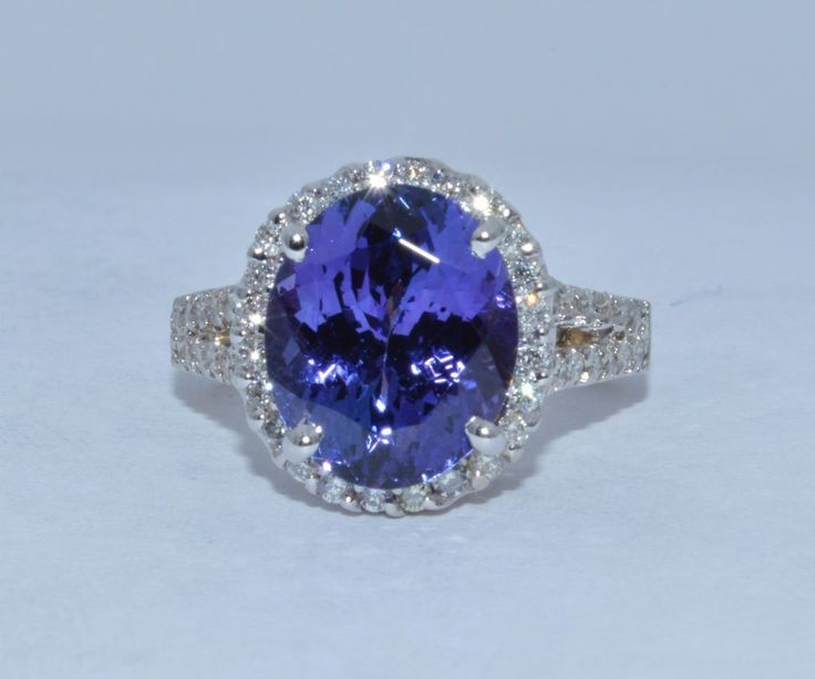 6ct. 100% Natural AAA - Very Dark Tanzanite & Diamond Ring  14k wg  REF21821081 #SolitairewithAccents