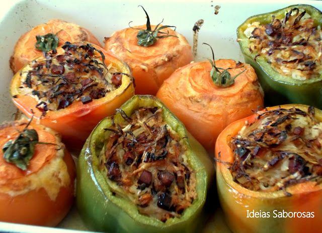 Tomates Recheados com Carne Picada & Pimentos Recheados com Legumes Salteados