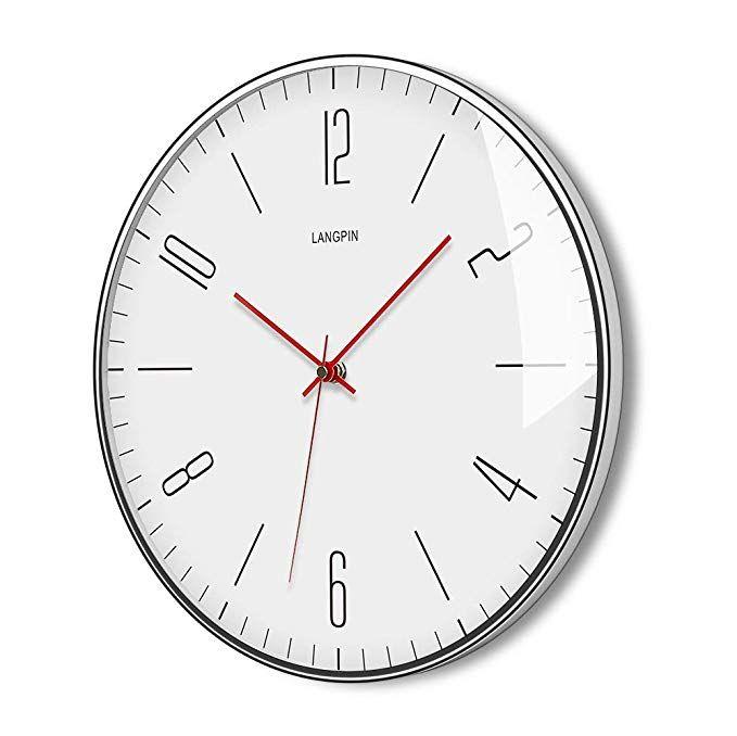 Amazon Com Langpin Silent Non Ticking Modern Quartz Wall Clock 14 Battery Operated Digital Quiet Sweep Office Decor Clo Wall Clock Clock Silver Wall Clock