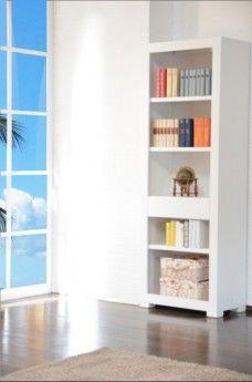 Bücherregal  Tecky weiß  Akazie massiv Holz Moebel Bücherschrank Regal Highboard