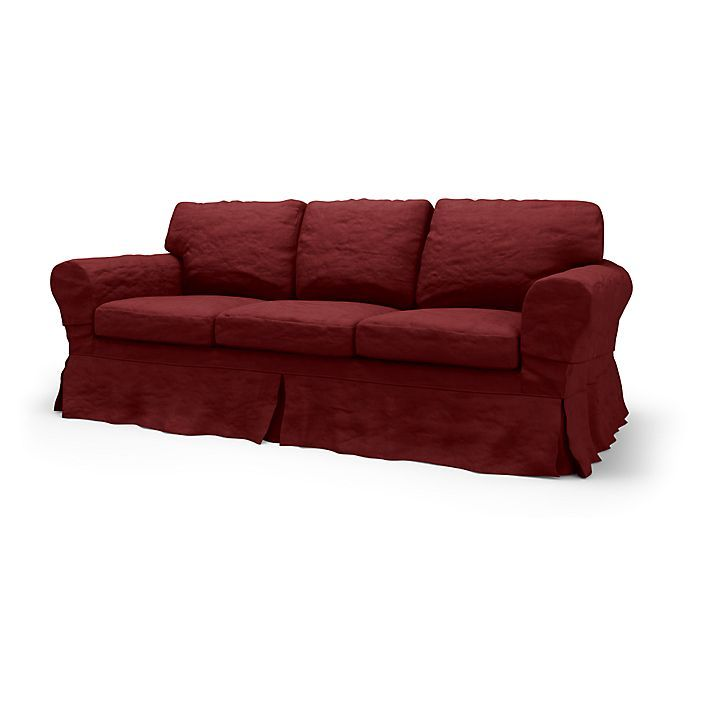 Ektorp, Sofa Covers, 3 Seater, Loose Fit Country using the fabric Chenille Burgundy Red