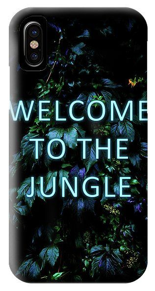 Neon IPhone X Case featuring Welcome To The Jungle - Neon Typography by Nicklas Gustafsson. #neon #typography #floral #botanical #jungle #forest #nature #flowers #iphone #case #iphonex #iphonecase