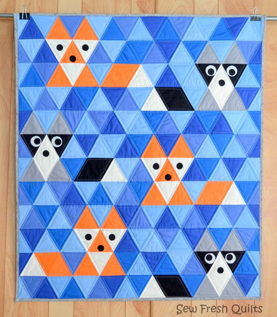 Quilt Pattern, PDF, Triangle quilt, KONA Solids, modern patchwork, blue, orange, black, grey.