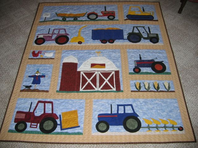 Tractor Quilt. Could use tractor Fabric as a border or background for the appliqués.
