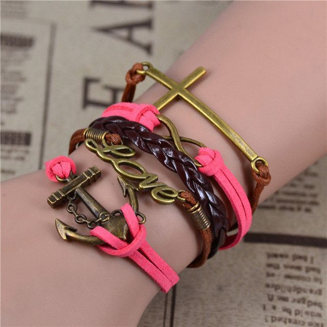 Vintage Infinity Anchor Hook Artificial Leather Bracelet Men & Women Bracelets & Bangles