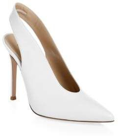 Gianvito Rossi Point Toe Leather Slingback Pumps