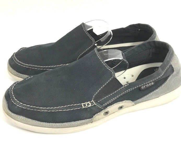 bac36eb8c76 Crocs Walu Deck Shoes Mens Size 12 Blue Canvas Boat Slip On Accent Loafers  14392  Crocs  LoafersSlipOns