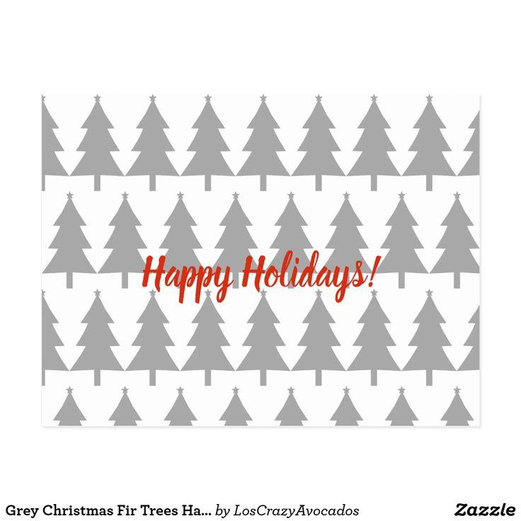 Grey Christmas Fir Trees Happy Holidays Postcard