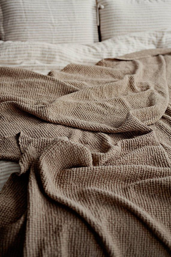 Waffle Linen Blanket In Beige Linen Throw Blanket Light Etsy