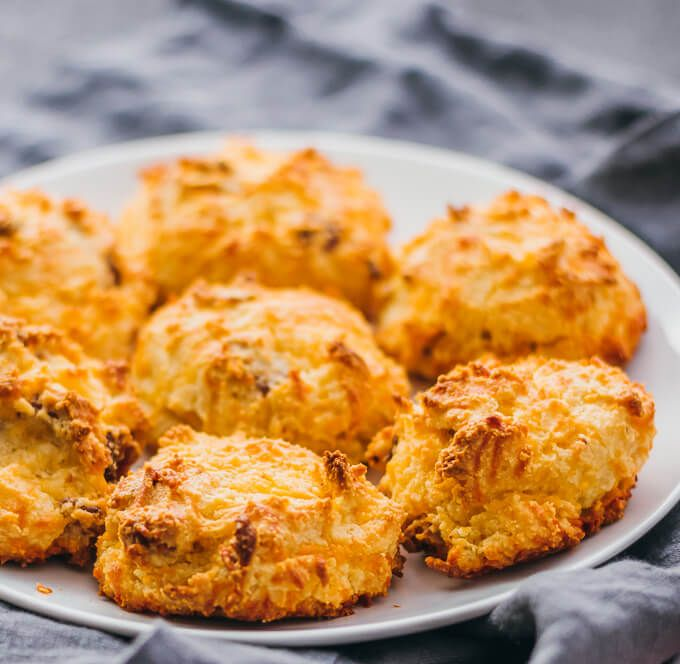 Low carb biscuits with bacon and cheddar | Biscuits can be delicious and healthy -- like these easy homemade biscuits made with almond flour, cheddar cheese, and bacon. #lowcarb #healthy keto / low carb / diet / atkins / induction / meals / recipes / easy / dinner / lunch / foods / healthy / best / recipe / how to make / sugar free / gluten free / english muffins / glutenfree / paleo / thanksgiving