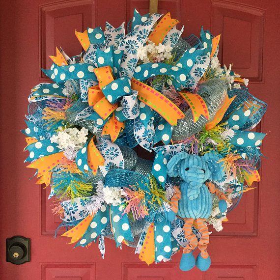 Welcome Baby Boy Hospital Door Wreath Baby Baby Door Wreath