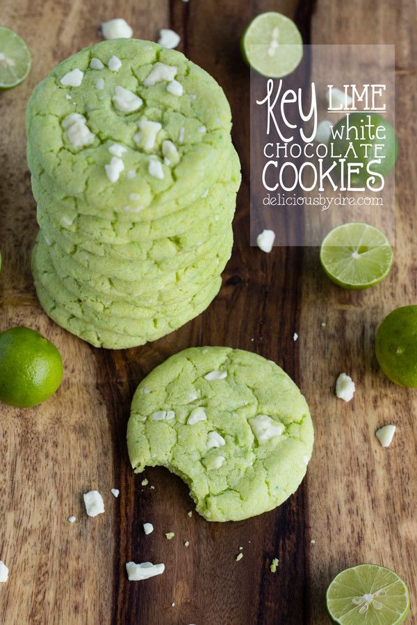Key Lime White Chocolate Cookies... these look a little weird, but might make a cute treat for the office on St. Patrick's Day.